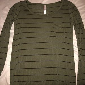 A green long sleeve shirt with black stripes